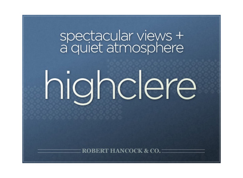 Highclere website cover page