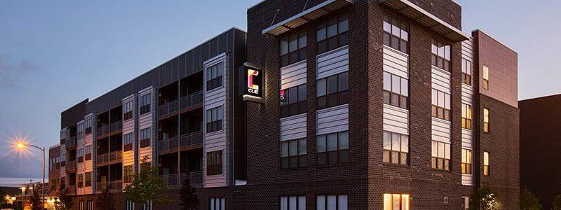 Building exterior of CUE Apartments